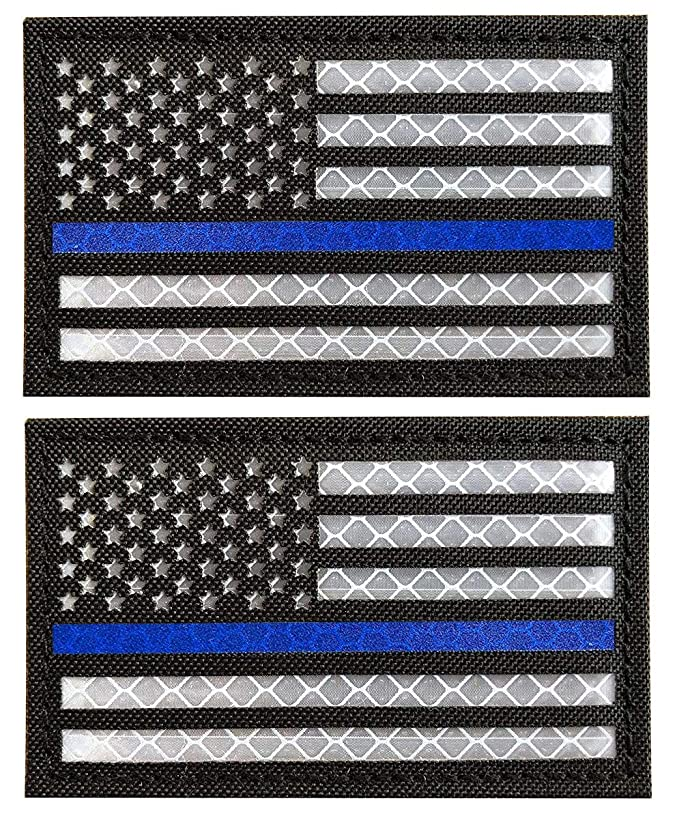 WZT 2 Pack Reflective Tactical USA Flag Patch - American Flag US United States of America Military Uniform Emblem Patches Hook-Fastener Backing (Black Blue)