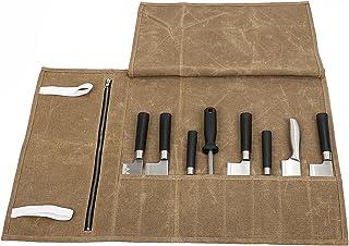 Bolsa de almacenamiento impermeable de lona encerada para cuchillos de cocinero con 8 compartimentos de viaje portátil para guardar 8 cuchillos más un bolsillo con cremallera para utensilios de cocina