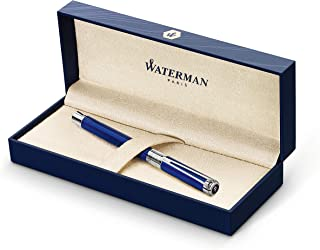 Waterman Perspective Rollerball Pen, Gloss Blue with Chrome Trim, Fine Point with Black Ink Cartridge, Gift Box
