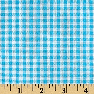 Richland Textiles 60'' Cotton Blend Woven 1/8'' Gingham Fabric, Turquoise, Fabric by the yard