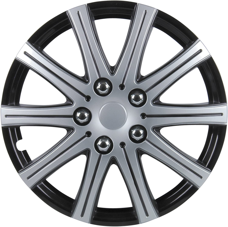 Cartrend 75171 Premium Radzierblenden 4er Satz Adelaide Schwarz Silber 38 1 Cm 15 Zoll 4 Er Set Auto