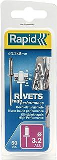 Rapid Blindklinknagels ALU Universal Ø 3,2 mm, 2-4 mm klembereik, 50 stk. klinknagels, set incl. boor, voor blindklinknagels