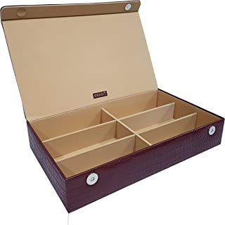 essart Premium 6 Grid Sunglass/Jewellery Collection Storage Unisex Organiser, Maroon