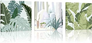 Natural art Tropical Plant Green Leaves Wall Art Modern Giclee Print Framed Artwork..