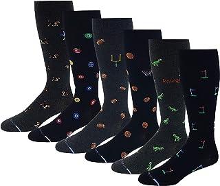 6 Pairs Pack Men's Dr. Motion Athletic Traveler Graduated Compression Knee High Socks (10-13, Assorted Novelty Design)