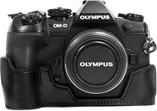 MegaGear Ever Ready Leather Camera Half Case compatible with Olympus OM-D E-M1 Mark