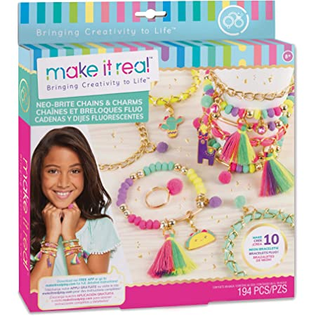 Make It Real – Neo-Brite Chains & Charms. Bracelet Making Kit for Girls And Tweens to Create Unique Bracelets, Tassel Charms, Gold Chains, And More