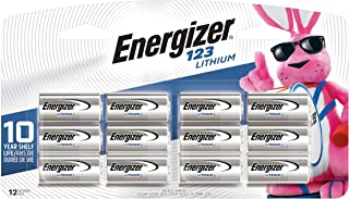 Energizer 123 Lithium Batteries, 3V CR123A Lithium Photo Batteries (12 Battery Count) - Packaging May Vary