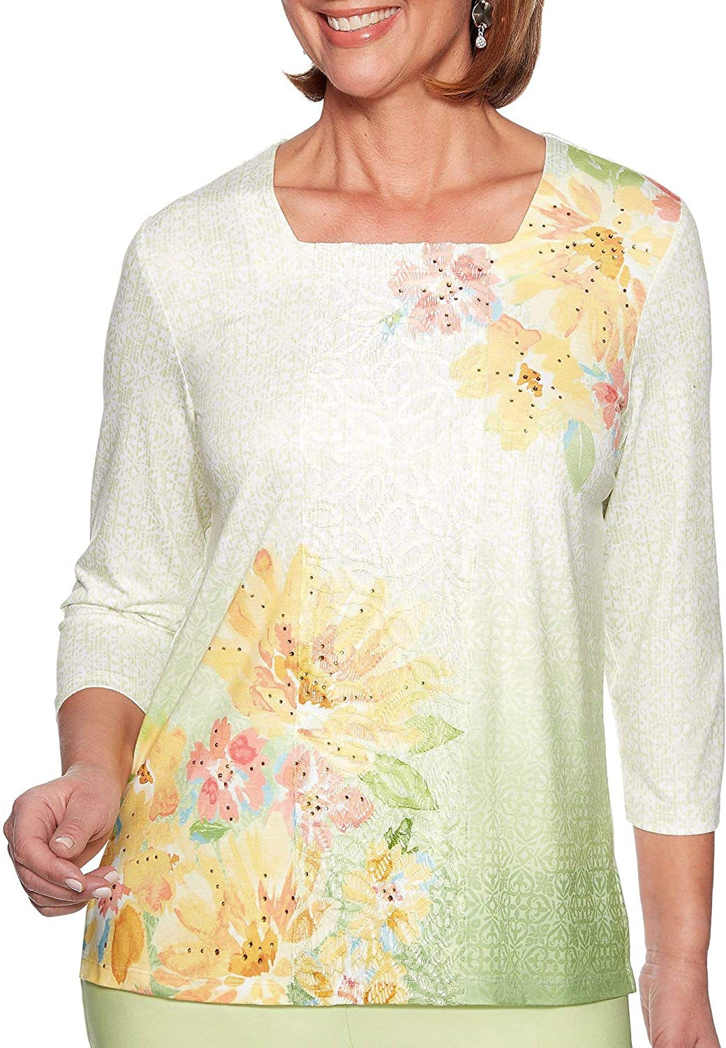 Alfred Dunner Women's Endless Weekend Texture Watercolor Floral Top