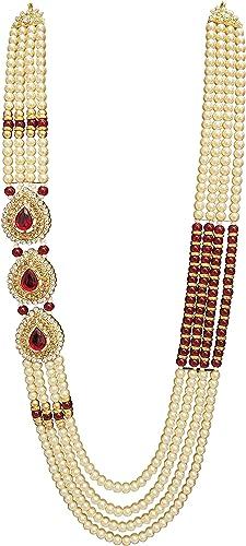 Raadhe creation Pearl Necklace Jewellery for Groom Dulha Moti Mala Haar for Men