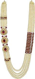 Raadhe creation Base Metal Pearl Necklace Jewellery for Groom Dulha Moti Mala Haar for Men