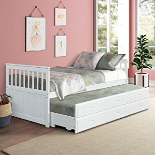 Twin Captain Bed with Trundle and Drawers,3-in-one Solid Wood Daybed with Storage for Kids Guests, White