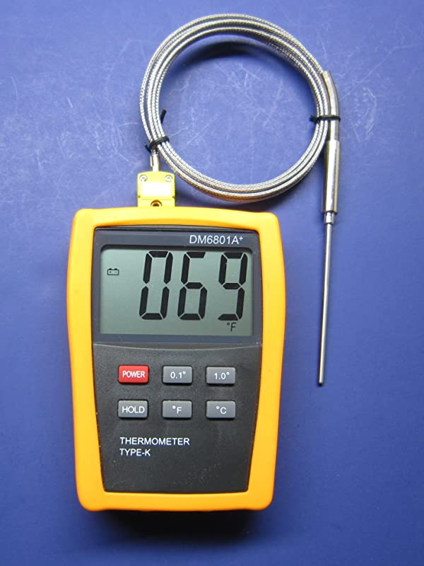 Large Display High Temperature K Type Thermocouple Thermometer With 3 Stainless Steel Insertion Probe 932 F Or 500 C