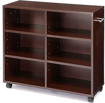 タック 書棚 ブラウン 80x20x65cm キャスター付き 棚板調整 取っ手付き