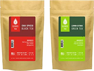 Elevate Tea CHAI BLACK TEA & LEMON GREEN TEA, 50 servings, 2 Pack of 3 oz Pouches, Caffeine Level: High-Medium, 3 oz