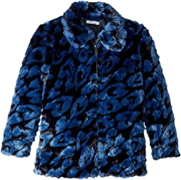GAIA Leopard Faux Fur Full Zip Jacket (Big Kids)
