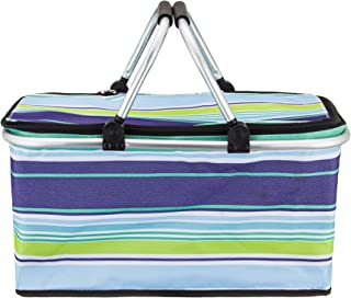 Reinforced Bottom Durable Polyester Fabric and Drawstring Closure Picnic Tote with Strong Aluminum Frame and Handles Reusable Grocery Shopping Bag Marbrasse Collapsible Market Basket
