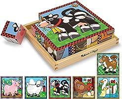 Melissa & Doug Rompecabezas de Cubos Animales de la Granja, Seis Rompecabezas en Uno, Juguete de Madera, Juguete de...
