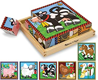 Melissa & Doug Farm Cube Puzzle (Preschool Kids, Six Puzzles in One, Sturdy Wooden Construction, 16 Cubes and Wooden Tray, Great Gift for Girls and Boys - Best for 3, 4, 5, and 6 Year Olds)