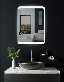 Top Acción. Espejo de baño LED con antivaho espejo de calefacción y reloj digital, Duisburg 60x 80cm, cuarto de baño espejo con reloj, clase energética A +