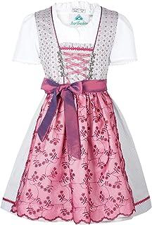 Isar-Trachten Kinderdirndl Lotta | Mädchen Dirndl kurz mit Bluse | Jacquard & Spitze | grau Beere