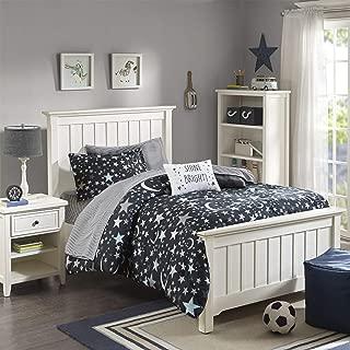 JLA Home INC Mi Zone Kids Starry Night Twin Comforter Sets for Girls - Black, Stars – 6 Pieces Kids Girl Bedding Set – Ultra Soft Microfiber Childrens Bedroom Bed Comforters
