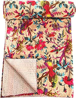 Jaipurtextilehub Bird Print Decorative Kantha Stitch Quilt Pure Cotton Reversible Bedspread Bed Cover, Twin Kantha Bedspread, Bohemian Bedding Kantha Colors of Rajasthan (Beige and Multi)