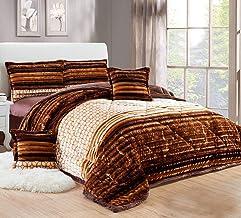Moon Winter Fur Comforter Set Of 4 Pieces, Twin/Single Size, Brown, Velvet