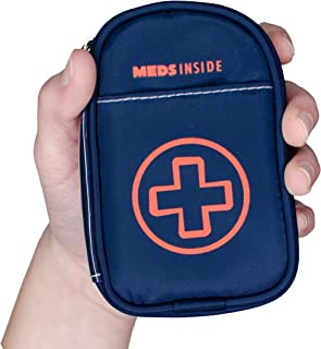 """Auvi Q Case, Travel Medical Bag – Small Medication Organizer Insulated Medicine Bag """"Jake"""" Navy Blue Mini Medic Pouch: Asthma Inhaler Case for (Small EpiPens), Allergy Meds, Nasal Sprays or More"""