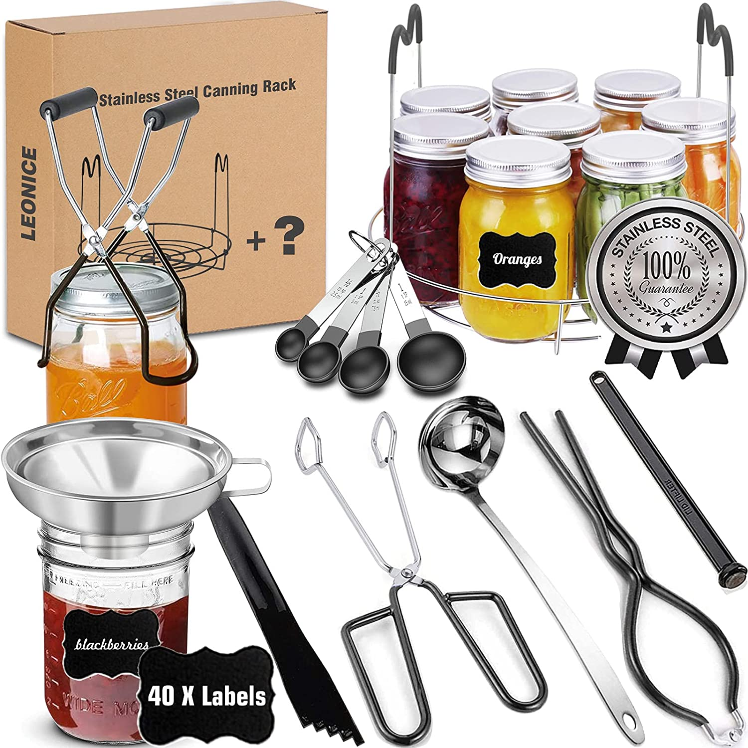 Canning Supplies Starter Kit, Stainless Steel Canning Set Tools: Rack, Ladle, Measuring Spoons, Funnel, Tongs, Jar Lifter, Lid Lifter, Bubble Popper, Lable for Canning Pot, Mason Jar, Beginner - Black