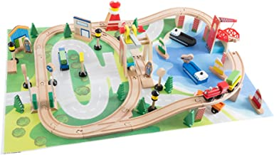 Wooden Train Set with Play Mat for Kids - Includes Deluxe Wood Tracks, Train Cars, Boats, Accessories for Boys and Girls by Hey! Play!