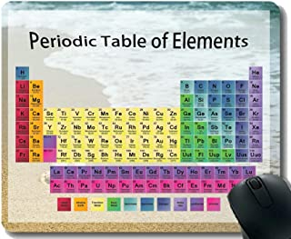 Colored Periodic Table of The Elements Gaming Mouse Pad,Wildlife Beach Shell Themed Mouse Mats with Stitched Edge
