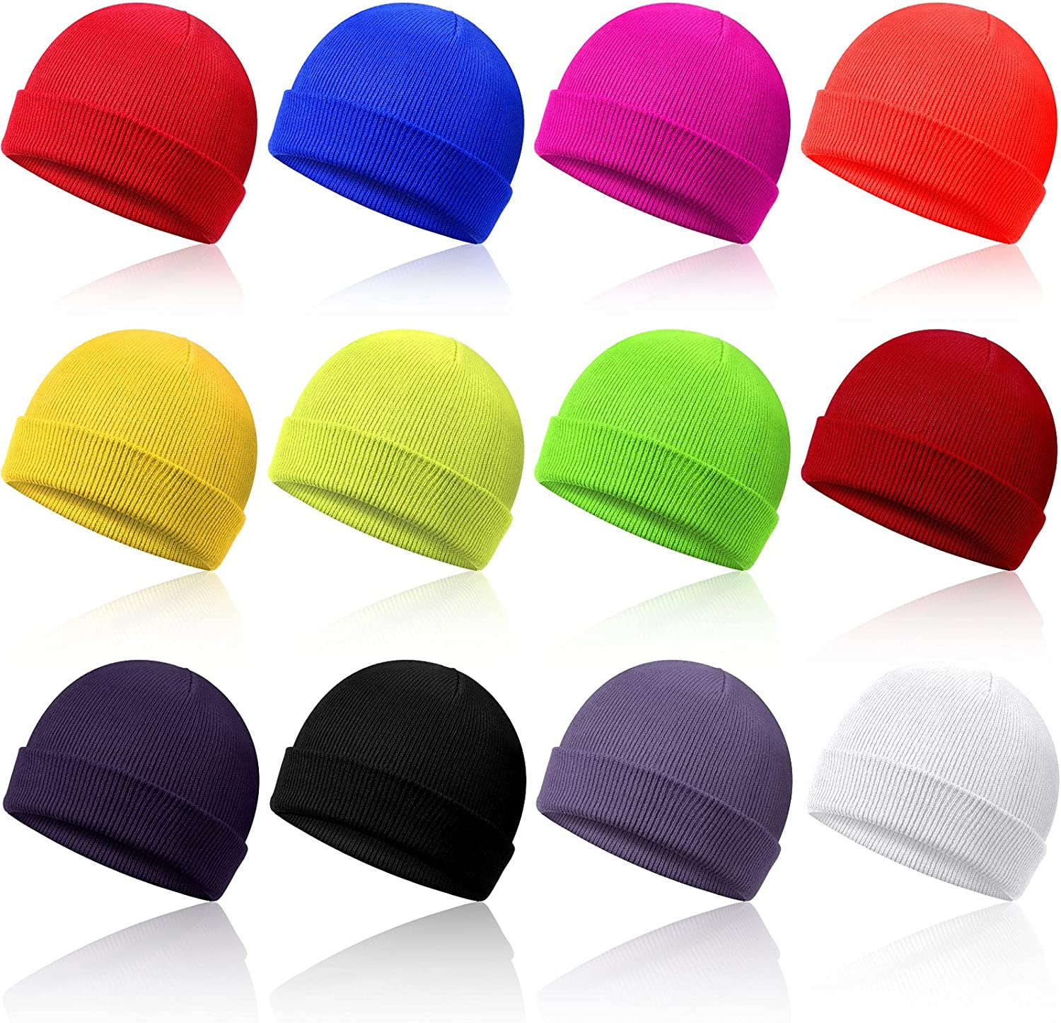 12 Pieces Toddler Beanie for Baby Kids Boys Girls Beanies Winter Knitted Skull Caps Hats, 12 Colors : Sports & Outdoors