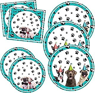 DISRUB Dog Party Supplies, Dog Disposable Tableware Including Dog Plates Cups Napkins Serves 20 for Dog Puppy Birthday The...