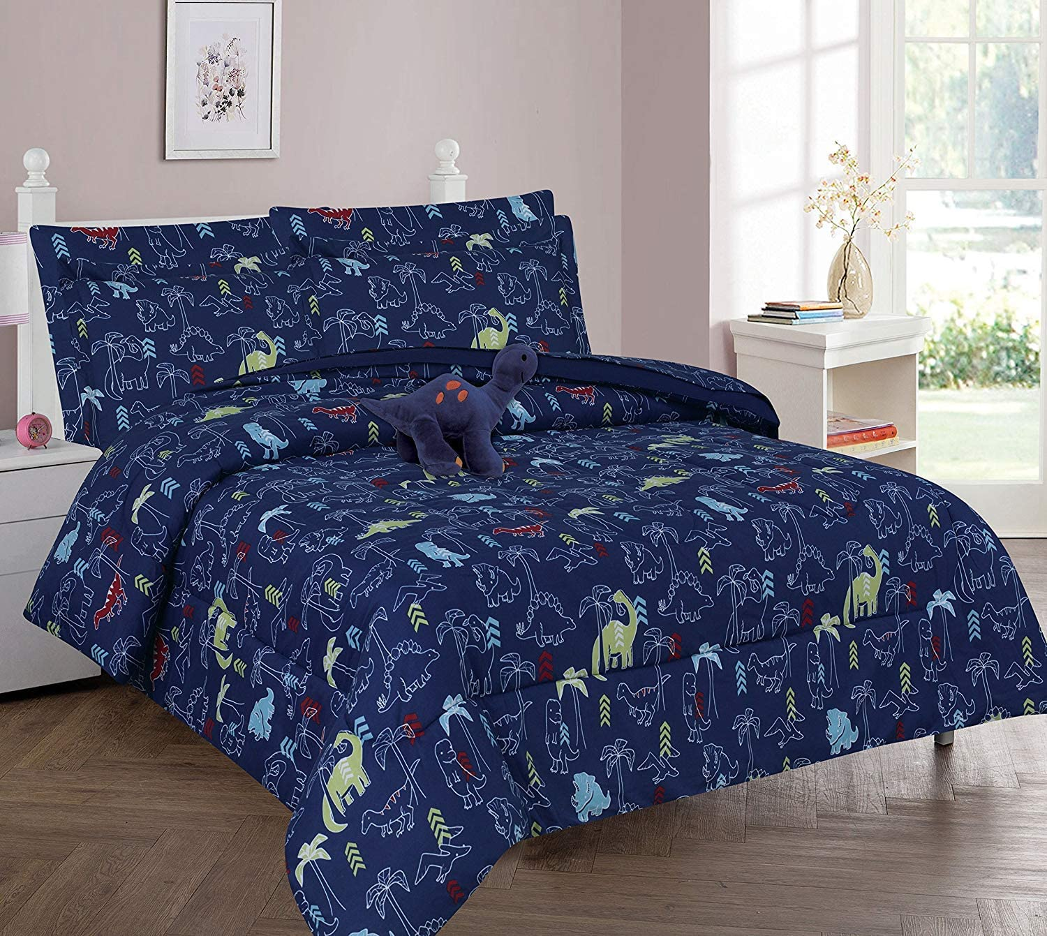 DiamondHome Boys Bedroom Decor Navy Design trend rank Inventory cleanup selling sale Full Comfor Dinosaur