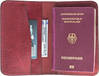 Booyse Leather Passport Holder Cover Case Travel Wallet Passport Holder for Men and Women Red