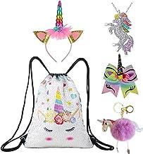 Unicorn Gift Set Girls Drawstring Sequin Backpack/Necklace/Headband/Keychain/Hair Bow (White Unicorn)