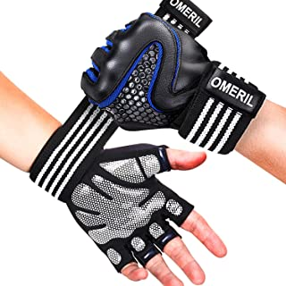 OMERIL Gym Gloves, Breathable Workout Gloves with Wrist Support.5MM Palm Pad, Sheepskin Leather for Hand Protection, Anti-Slip Fitness Gloves for Weight Lifting Cross Training Pull Ups (Men and Women)