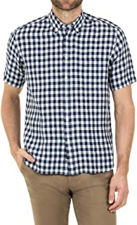 Blazer Men's Tristan Short Sleeve Linen Shirt, Navy-White