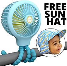 Mini Baby Stroller Fan - Flexible Tripod Conveniently Mounts Anywhere from Cribs to Car Rides, 100% Safe and Quiet for Light Sleepers, Long Lasting Charge (Blue)