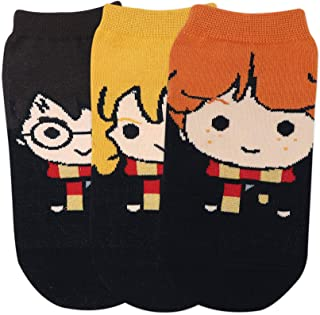 Balenzia x Harry Potter character lowcut socks- Harry, Ron & Hermione for Women (Pack of 3)- Yellow, Brown & Orange