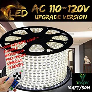 White Color LED Strip Light, IEKOV™ AC 110-120V Flexible/Waterproof/Multi-Modes Function/Dimmable SMD5050 LED Rope Light with Remote for Home/Office/Building Decoration (164ft/50m)