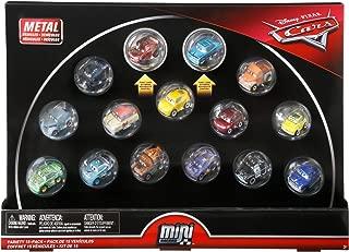 Disney Cars Diecast Mini Racers Variety 15-pack Including First-Look Metallic Rust-Eze Racing Center Lightning McQueen and Metallic Intro Ramone plus Jackson Storm, Cruz Ramirez, Mater, Smokey, 9 More