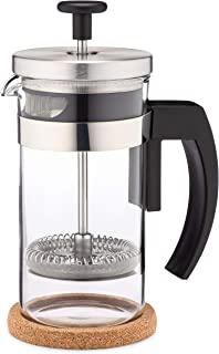 Brillante Small French Press Coffee Maker with 12 Ounce Glass Beaker - Single Serve Cafetiere and Tea Maker BR-CP1-350