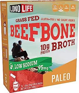 LonoLife Low-Sodium Grass-Fed Beef Bone Broth Powder with 10g Protein, Paleo and Keto Friendly, Stick Packs...