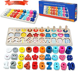QZM Wooden Montessori Toys for Kids, Toddler Number Puzzles Sorter Counting Shape Stacker Stacking Game Preschool Toys for...
