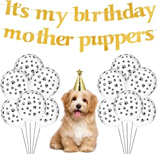 Outus Dog Birthday Party Supplies Its My Birthday Mother Puppers Dog Birthday Banner Dog Paw Balloons Glitter Puppy Birthd...