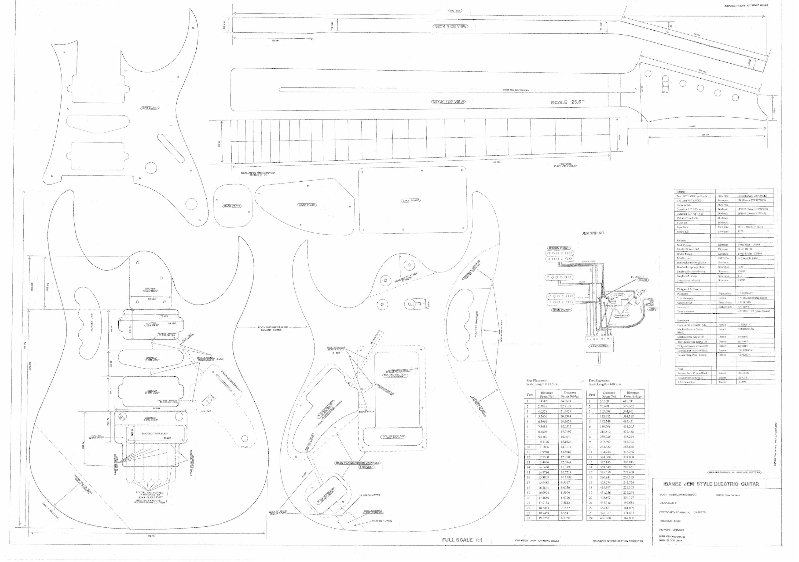 Cheap Ibanez Electric Guitar Plans - Full Scale technical design drawings - Jem 777- Actual Size Plans Black Friday & Cyber Monday 2019