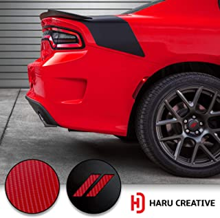 Haru Creative - Stripe Hash Rhombus Wheel Center Cap Overlay Vinyl Decal Compatible with and Fits Dodge Charger and Challenger 2017 2018 (no Wheel caps Included) - 4D Carbon Fiber Red