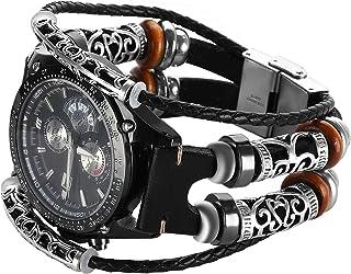 Gear S3 Bracelet en cuir Noir,Samsung Gear S3 Frontier Classic Bande Remplacment,Vintage Bracelet de montre avec accessoir...